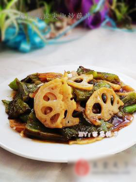 虎皮尖椒炒藕片